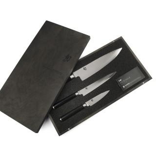 Coffret 3 couteaux Kai Shun lame damas